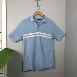 Nautica Blue White Stripe Polo